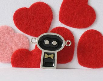 Sterling silver, resin and brass necklace-Handmade robot pendant-Wedding gift- Geekery jewelry-Gentils robots is married!
