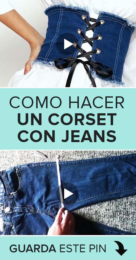 Aprende como hacer un corset utilizando algún jean viejo que tengas. Así, no tendrás que comprar ni tela ni nada, ¡podrás reutilizar una prenda vieja!  #cursos #costura #manualidades #corset #DIY #sewing #sewingtutorials Diy Corset, Fashion Sewing, Denim Fashion, Fashion Outfits, Diy Jeans, Diy With Jeans, Jeans Refashion, Diy Clothes Refashion, Diy Fashion Hacks