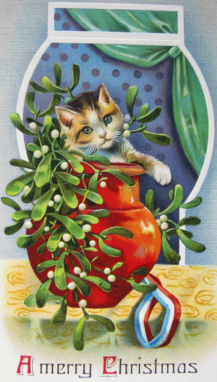 102 best cat christmas cards images on pinterest cat christmas vintage christmas card kristyandbryce Choice Image