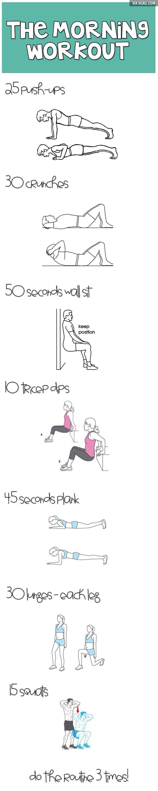 The morning workout! 25 push-ups 30 crunches 50 sec wall sit 10 tricep dips 45 sec plank 30 lunges - each leg 15 squats Repeat 3 times