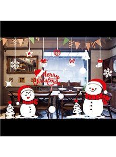 Festival Christmas Snow Man Window Glass Removable Wall Sticker