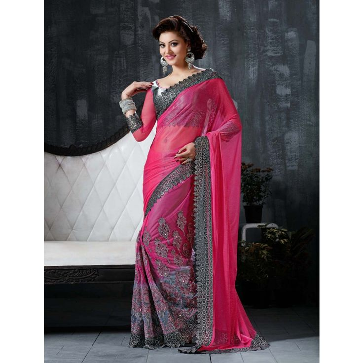 Urvashi Rautela Pink Net #Saree With Blouse- $93.32