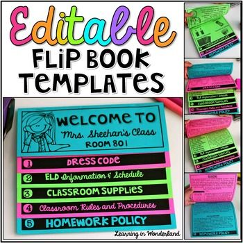 **Update 7/21/15**I have updated this product to include a Spanish version of this flip book.  It follows the same format as the English version.  All the text is editable to make it fit your needs. -This product will remain on sale through Friday the 24th.  _______________________________________________________By request, I am sharing my double-sided  flip book templates.