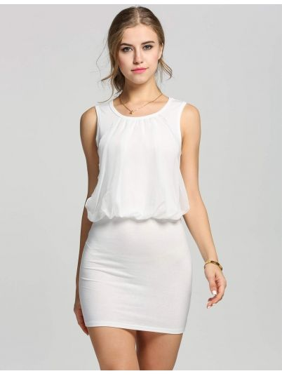 White Ladies Chic Sleeveless Tunic Dresses