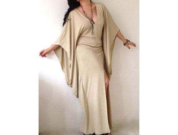Long V Neckline Dress/ Butterfly Kaftan Dress / Maxi Dress / Loose Extra Long Sleeve Kaftan on Etsy, $80.00