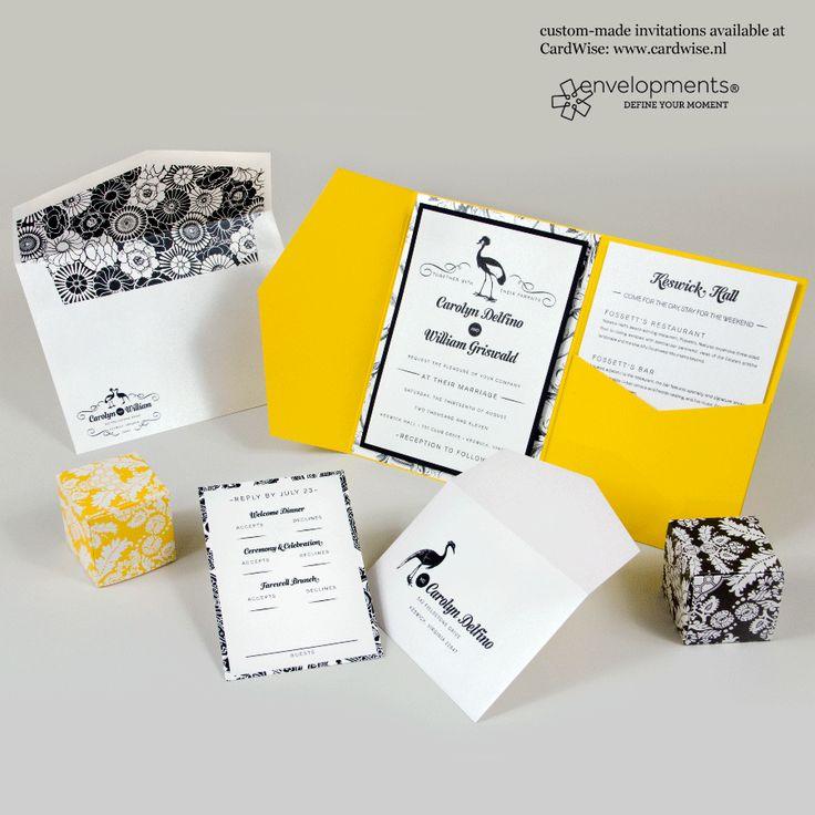 Trouwkaart met gele en zwarte decoratie