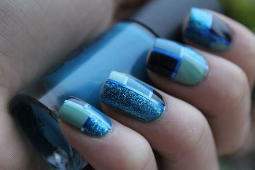 i love these!!: Nails Art, Nails Design, Nailart, Color, Glitter Nails, Geometric Nails, Nails Ideas, Nails Polish, Blue Nails