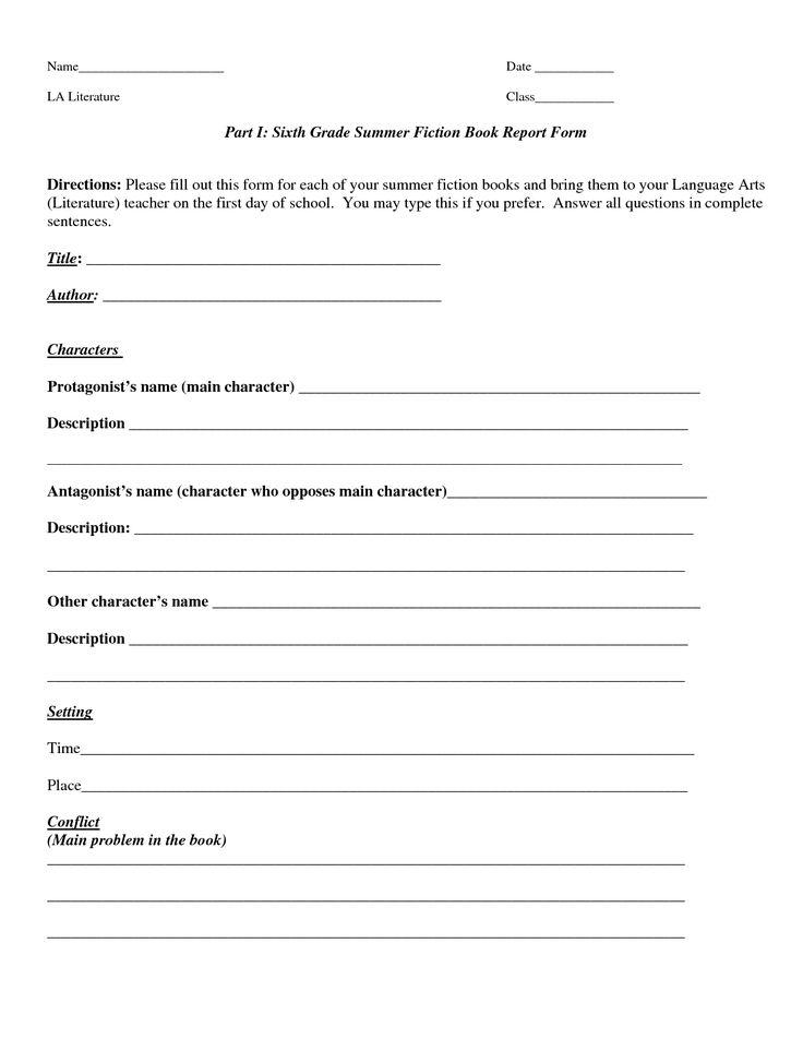 7th grade book report outline