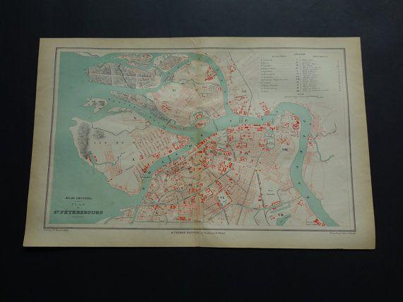 St. Petersburg map 1877 big original old antique by VintageOldMaps