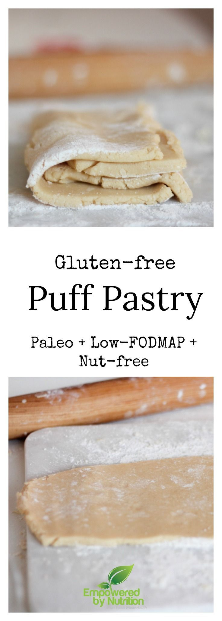 Flaky gluten-free. paleo, AIP and low-FODMAP puff pastry crust. Valentine's recipe included!