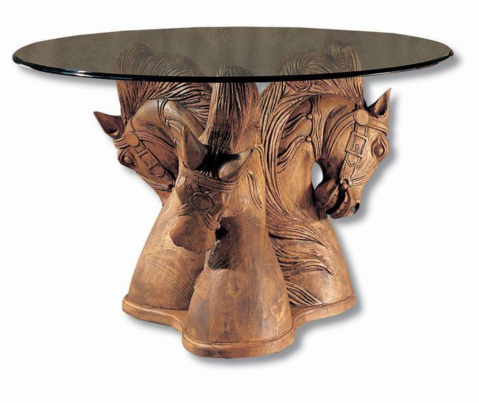 Mesa De Comedor Redonda Grosor De Cristal De 8 O 15 Mm Pie Escultura Caballos Mueble Mejicano Myoc Muebles Rústicos Estilo Rústico Mesa De Comedor