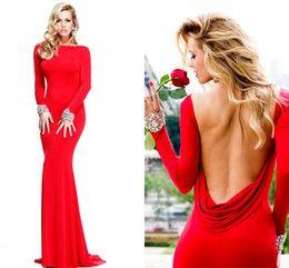 Comercio al por mayor 2014 de la venta caliente Tarik Ediz vestido de noche del nuevo del estilo de la envoltura Bateau Cuello de la gasa roja sin respaldo de manga larga vestidos de noche vestidos de baile ZA026