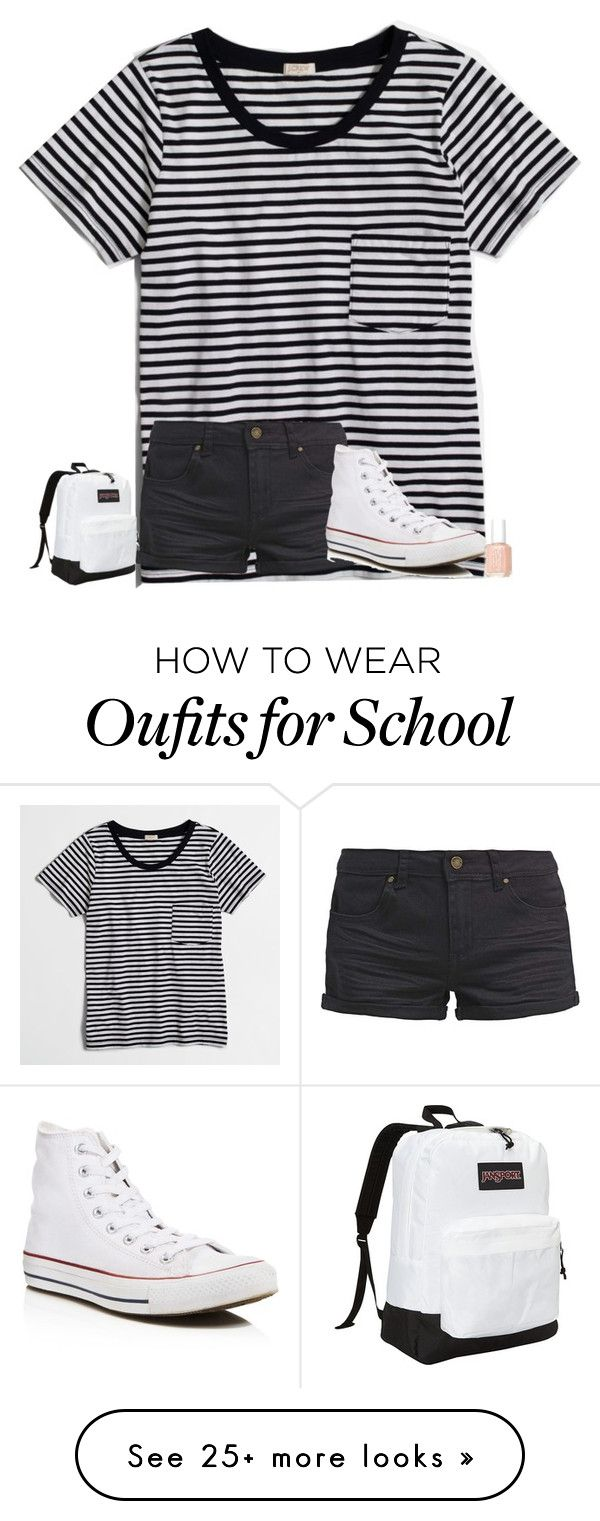 """""""comment your fav subject/class at school!"""" by texasgirlfashion on Polyvore featuring J.Crew, TWINTIP, Converse, JanSport and Essie"""