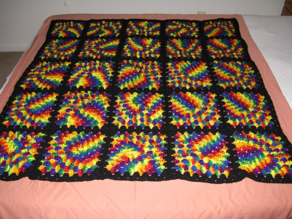 Stained Glass Style Crocheted Afghan Throw By