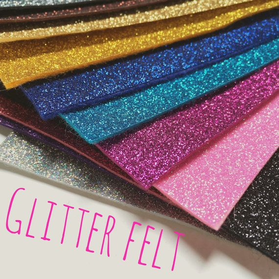 Glitter Felt  24 colours by CreativeCraftSupplys on Etsy