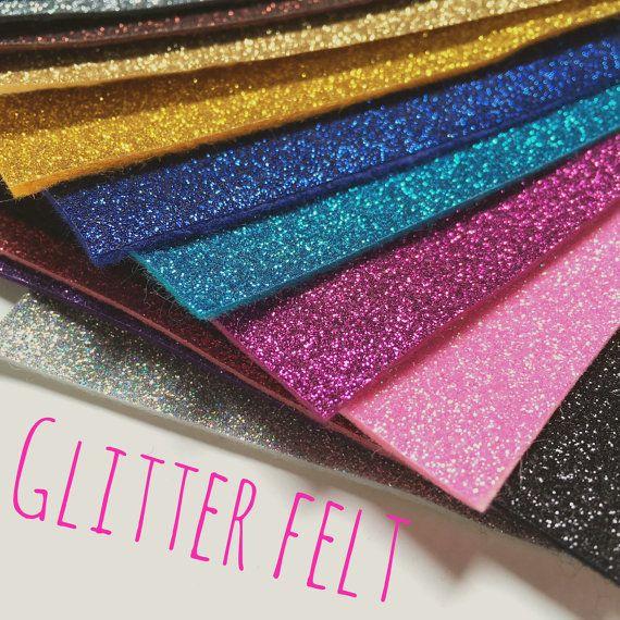 Glitter Felt  24 colours by CreativeCraftSupplys on Etsy