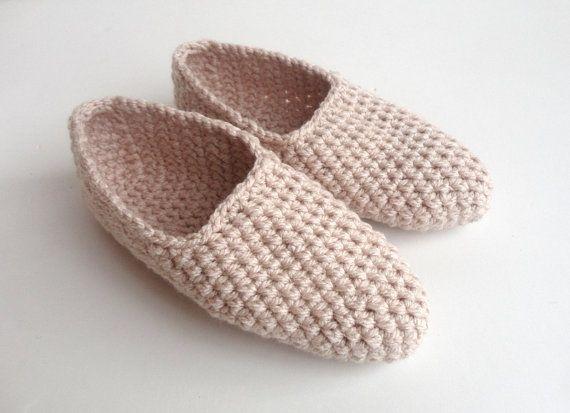 beige slipper ,crochet women  slipper ,home shoes ,Turkish socks , crocheted slippers on Etsy, $20.00