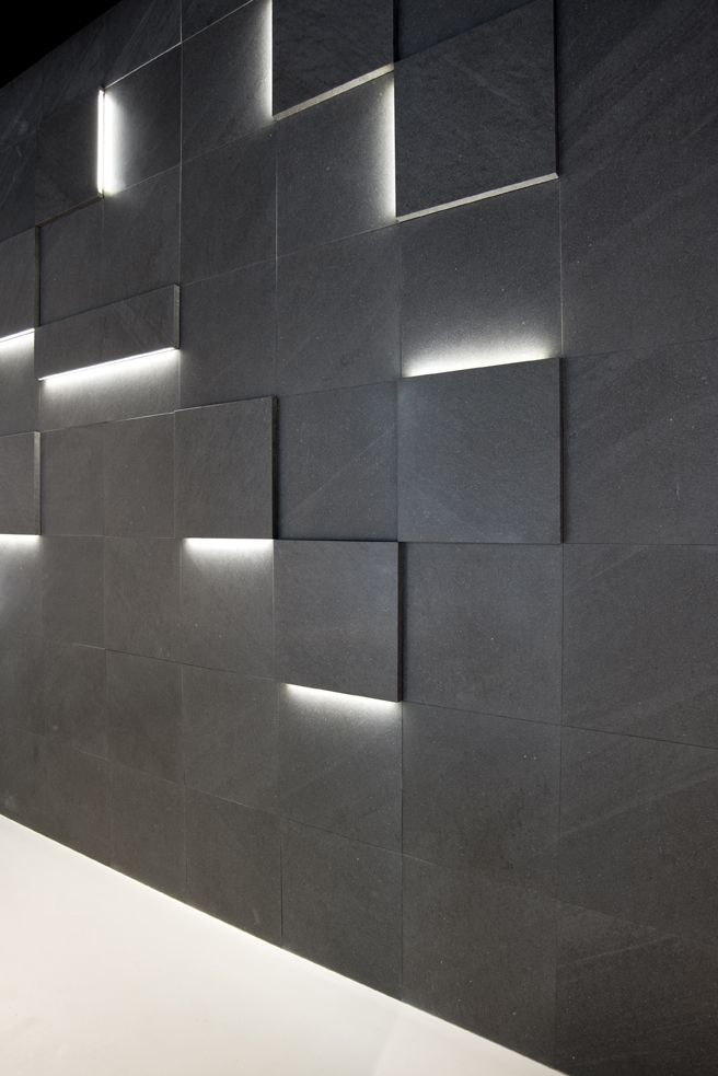 Striped Led Augmented Textures: Led Lighting Tile Design By Creative Elia  Nedkov. Evocative Bands Of Light And Volume Effects Wall Throws From Stone  Wall.