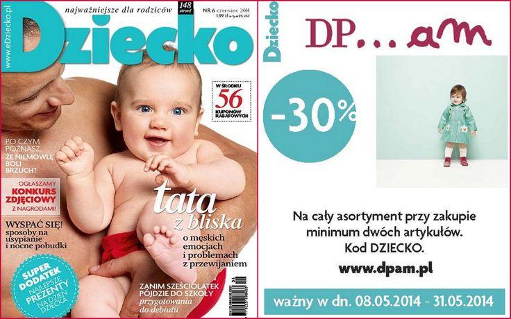 """W nowym numerze miesięcznika """"DZIECKO"""" znajdziecie kupon ze zniżką -30% na cały paragon przy zakupie minimum 2 artykułów w DPAM. Rabat jest ważny do 31 maja 2014 roku i nie łączy się z innymi promocjami.   #galeriamokotow #fashion #shopping #moda #zakupy #sale #Galmok #dpam #baby #dziecko"""