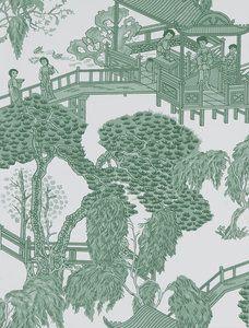 Behang Gaston y Daniela Zhou Jun- Hispania Collectie  Het chinoiseriebehang Gaton y Daniela Zhou Junheeft heeft een Aziatisch motief met verschillende figuren in 'tempels', waar een th...