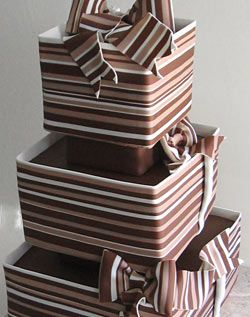 3-Tier Brown Giftwrap Wedding Cake by lynngrace23, via Flickr