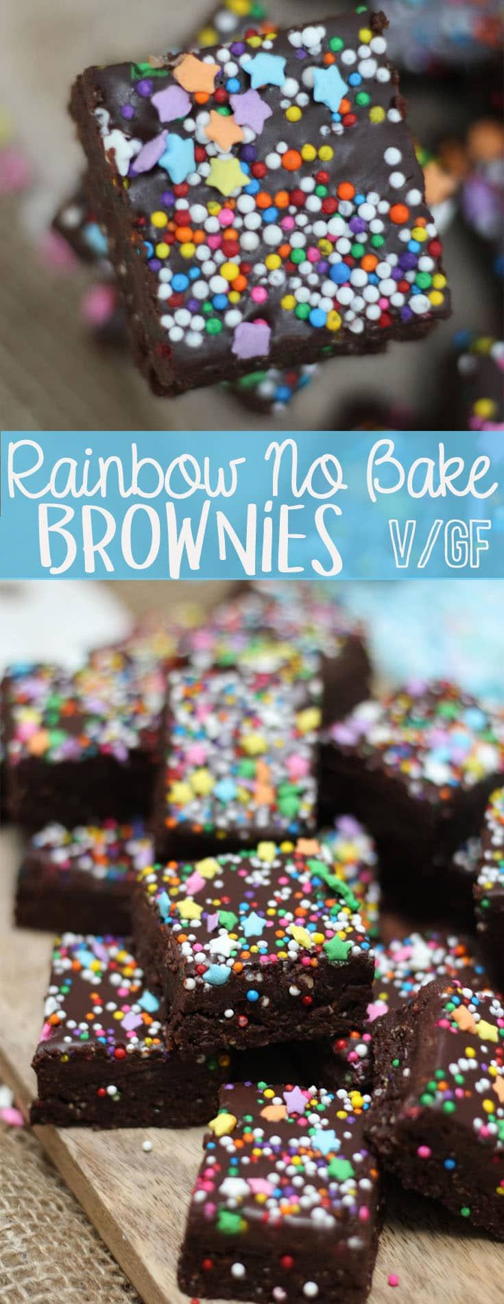 These Rainbow No Bake Brownies are perfect Vegan and Gluten Free Desserts for getting your chocolate fix any night of the week. #rainbow #nobake #brownies #vegan #glutenfree #paleo