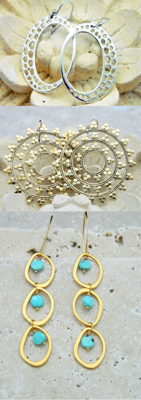 3 Gorgeous Earrings You Can Make in Minutes! http://www.ninadesigns.com/blog/2012/07/03/how-to-make-summer-earrings/