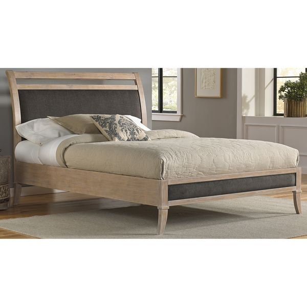 Fashion Bed Group B7155 Delano Washed White Wooden Platform Bed with Sleigh-Style Upholstered Headboard