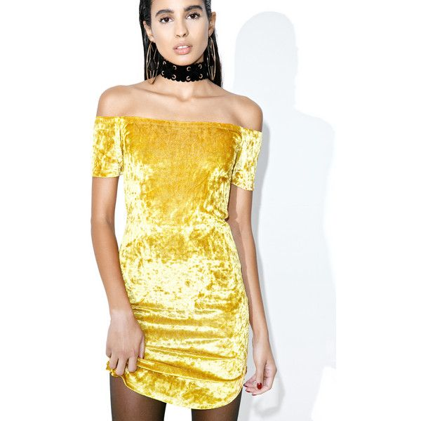 Belle Velvet Dress ($38) ❤ liked on Polyvore featuring dresses, golden dress, night out dresses, off shoulder party dress, going out dresses and yellow party dress