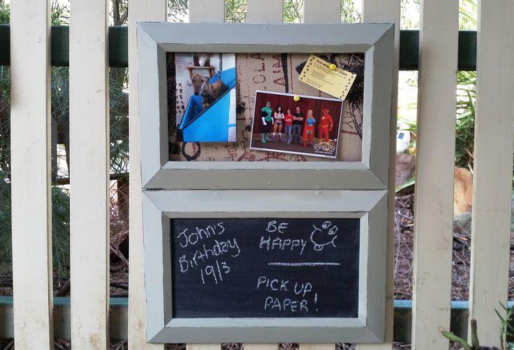 Chalkboard organizer/notice board //  notice board // kitchen organisation // housewarming gift // gift for her // photo board // by BornAgainBargainsCo on Etsy