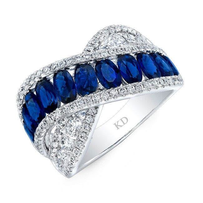 HIGH QUALITY NATURAL COLOR 18K WHITE GOLD FASHION OVAL SAPPHIRE WAVE DIAMOND BAND COMPLEMENTED WITH ROUND WHITE DIAMONDS, FEATURES 4.36 CARAT TOTAL WEIGHT