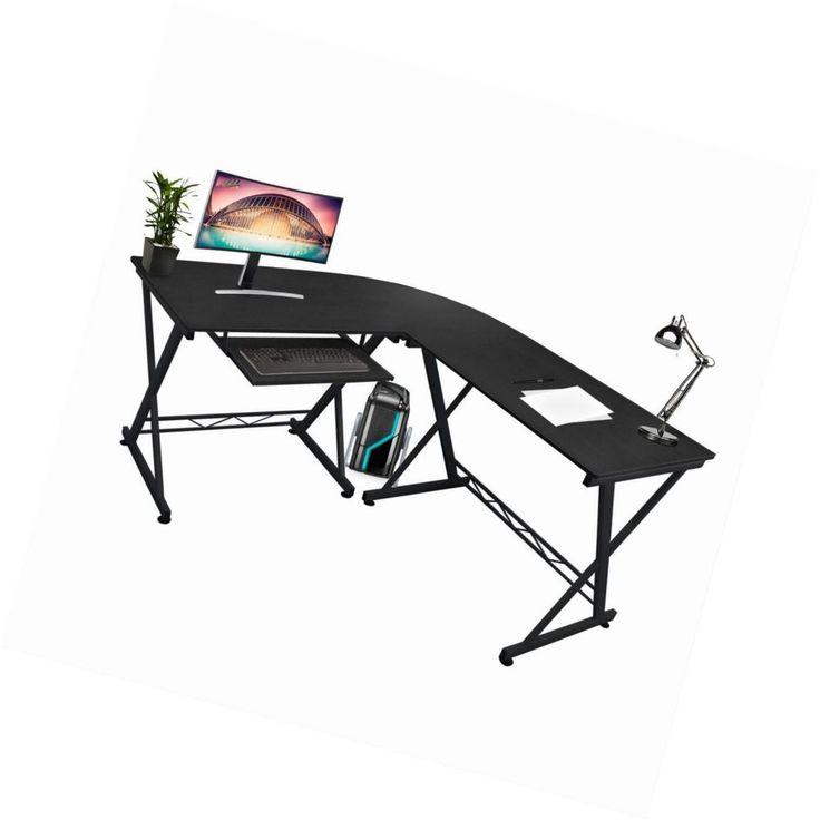 Large Black Workstation Corner Office Computer Study Desk Keyboard Shelf Durable #Unbranded #Modern