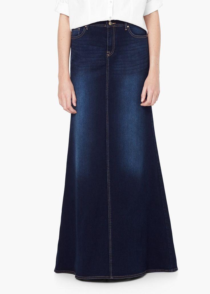 Falda larga denim - Faldas de Mujer | MANGO