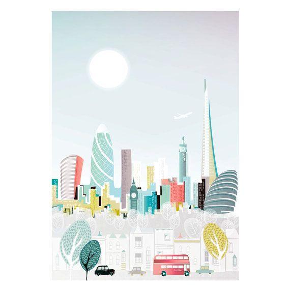 Londres Skyline Print Art Poster, London Bus et Taxi Wall Art, impression sur papier de la ville, paysage urbain illustration, décor de bureau. Style : LBPP01