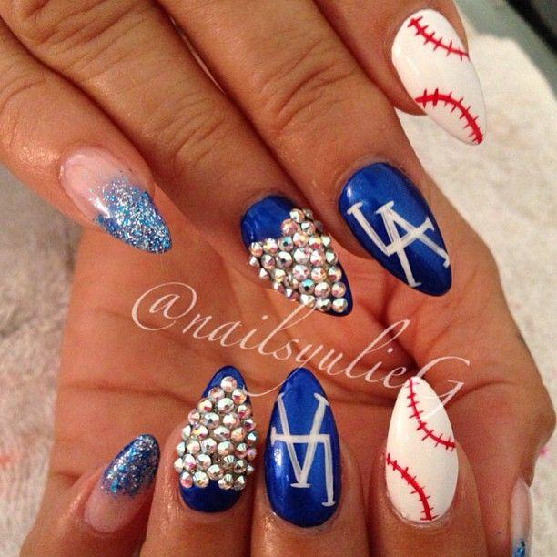 Dodger Nails @nailsyulieg- #webstagram Look @Marisol Barrera Barrera Barajas you should get these luv!