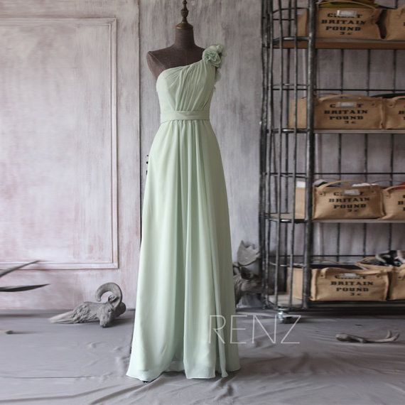one of the other top contenders for color:  XHV #35  2015 Mint Bridesmaid dress Dusty Shale Wedding dress by RenzRags