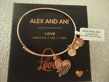 ALEX AND ANI LOVE IV Rose Gold Charm Bangle Bracelet New W/ Tag Card & Box