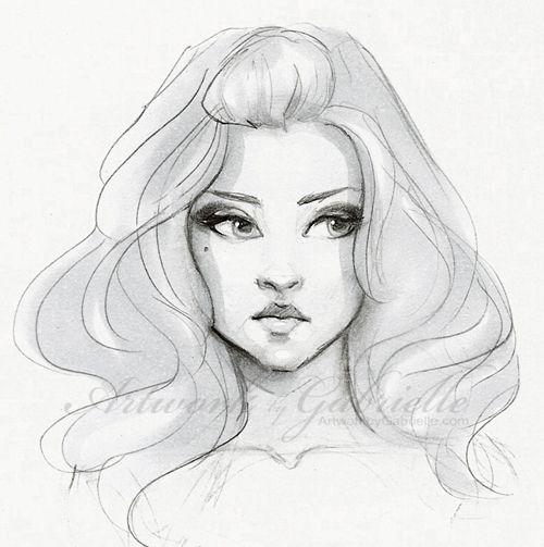 Thick Voluminous Hair, Girl illustration, drawing, sketch :) / Capelli spessi e voluminosi, illustrazione ragazza, disegno, ritratto - Artwork by Gabrielle (Art by gabbyd70 on deviantART)