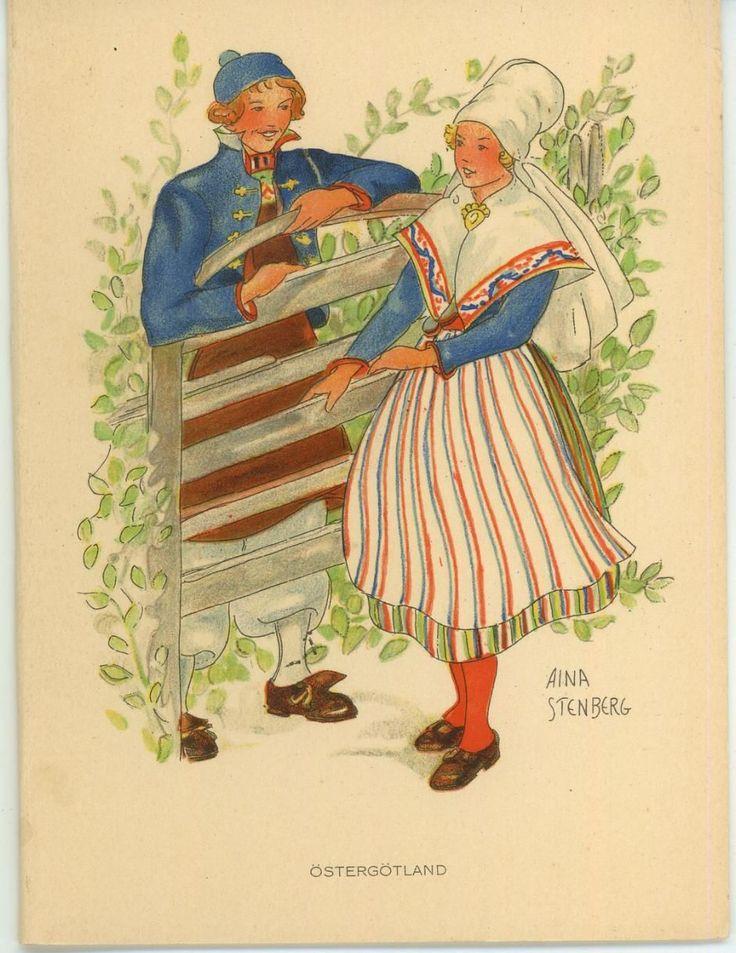 Vintage Swedish Sweden Costume Man Girl East Gothland Nature Card Litho Print | eBay