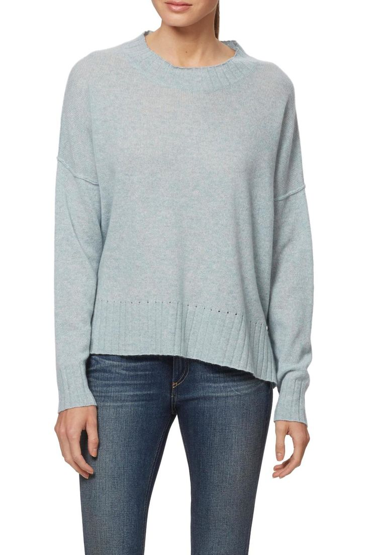 A relaxed crew neck knit cashmere top with rolled detailing on the sleeves. Ribbed trim. Dropped shoulders.   Cashmere Green Crew Neck Sweater by 360 Cashmere. Clothing - Sweaters - Crew & Scoop Neck Massachusetts