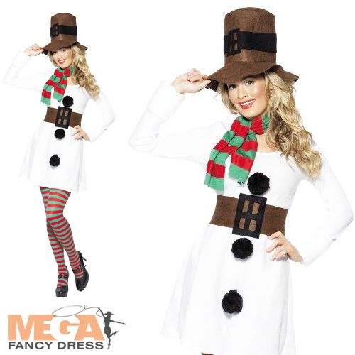 Miss Snowman Christmas Fancy Dress Party Costume Ladies Outfit + Hat UK 8-16 | eBay