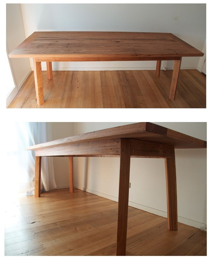 Hand crafted out of recycled hardwood this table will comfortable sit 8-10 people. The legs have a subtle 5 degree angle. Lachlan Ryan Construction  www.lrconstruction.com.au