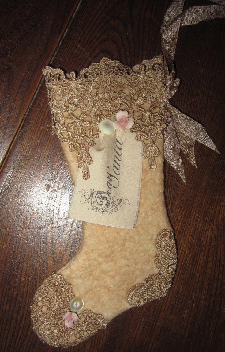 Sweet Venise Lace Cotton Woolen Small Christmas Stocking Ornament  Dear Santa.