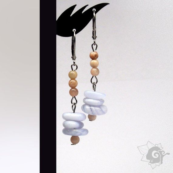 Sunstone and Chalcedony Earrings Stainless by SpiritualAmulets