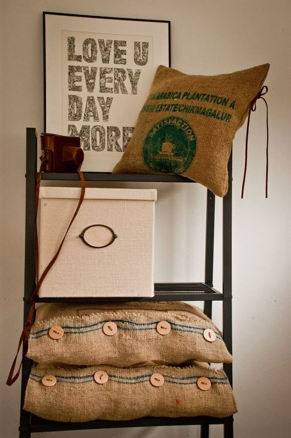 Pillow case - recycled juta fabric coffe bean sack burlap natural eco bag made in India originally printed & 12 best COJINES images on Pinterest | Cushions Decorative pillows ... pillowsntoast.com