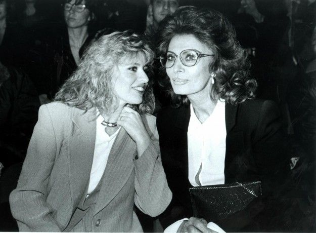 Sophia Loren with her niece Alessandra Mussolini in 1990