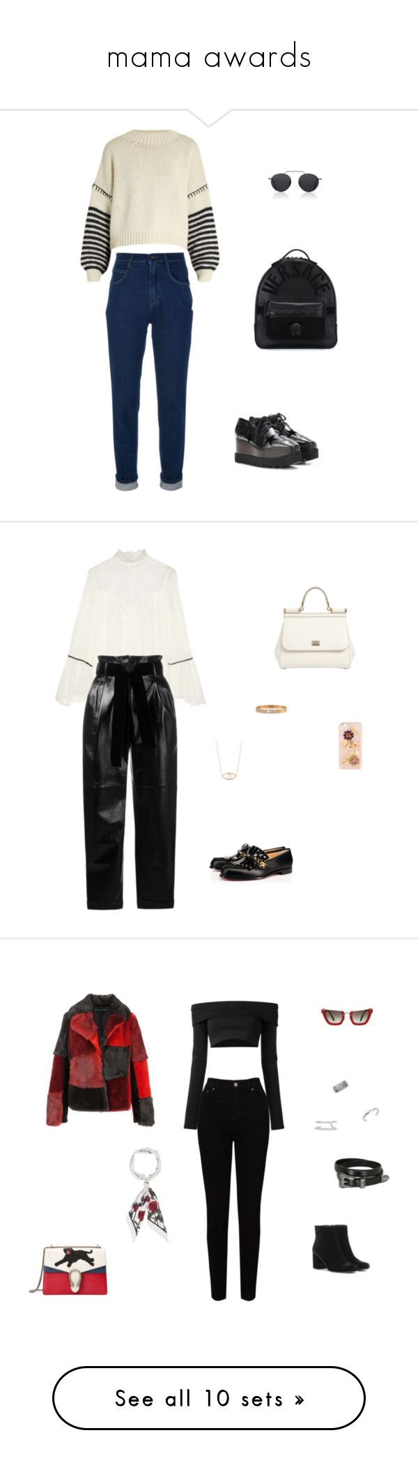 """mama awards"" by leafmarie ❤ liked on Polyvore featuring Dolce&Gabbana, Sportmax, Versace, STELLA McCARTNEY, Illesteva, Alice + Olivia, Philosophy di Lorenzo Serafini, Christian Louboutin, Messika and Feathered Soul"