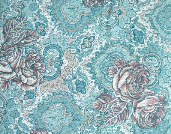 Aqua Rose Challis Fabric, by Arthur R. List Textiles, Polyester/Rayon, Fabric by the Yard by CurlicueCreations on Etsy