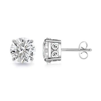 Angara Round Two Stone Diamond Criss Cross Stud Earrings Gvk1yFv8I