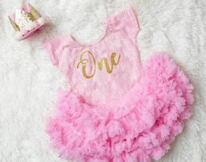 First Birthday Pink Lace Bodysuit with Glitter One - Complete Outfits Available 13
